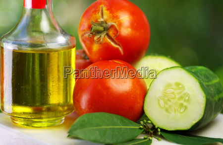 olive oil tomato and cucumber