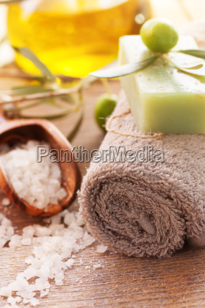natural spa setting with olive oil