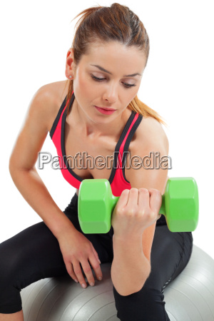 female doing bicep curls