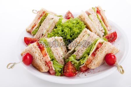 fresh club sandwich with ham cheese