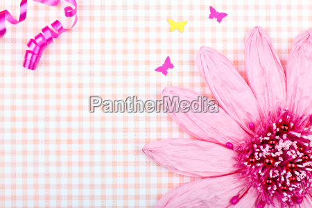pink greeting card with big flower