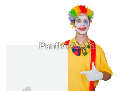 clown mit reklametafel