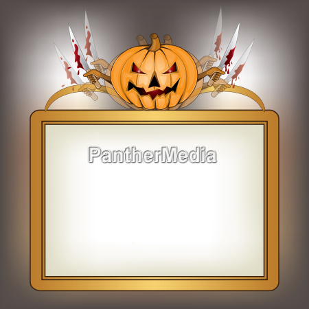 halloween background with killer pumpkin