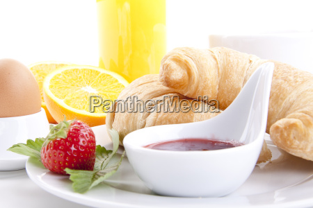 french breakfast with croissant and jam