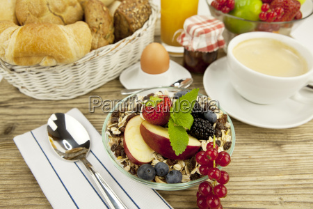 healthy breakfast with cornflakes coffee and