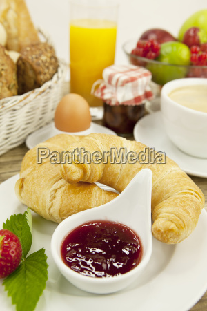 french breakfast with croissant juice and