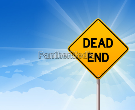 dead end sign and blue sky