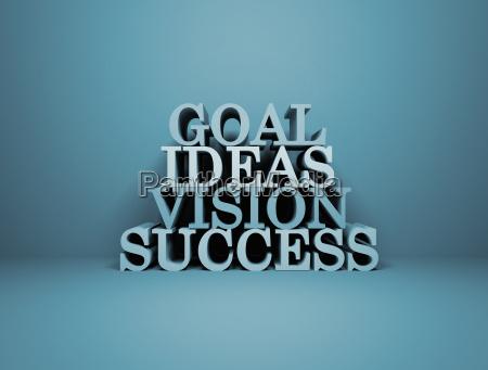 goal ideas success vision 3d text