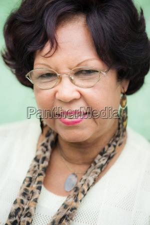 portrait of happy elderly black lady