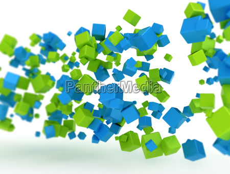 abstract flying 3d cubes
