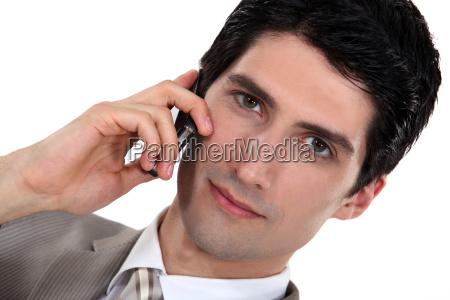 handsome gentleman on the phone