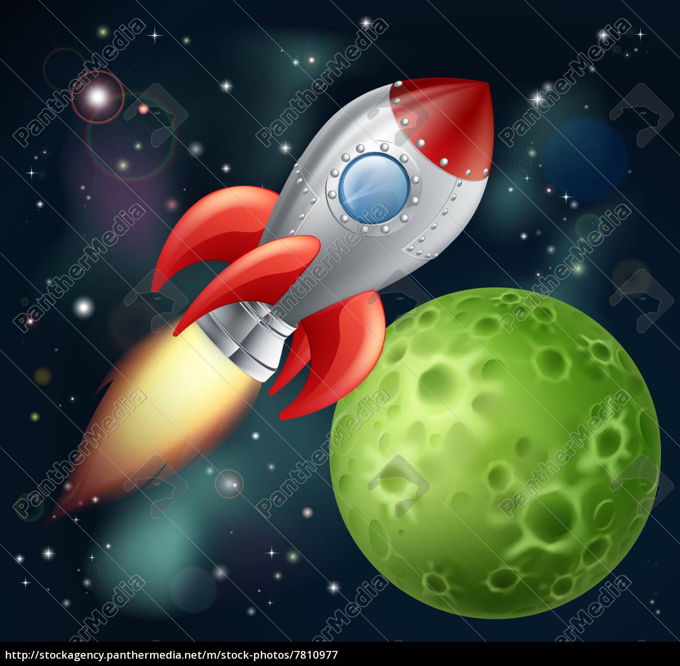 cartoon-rakete, im, weltraum - 7810977