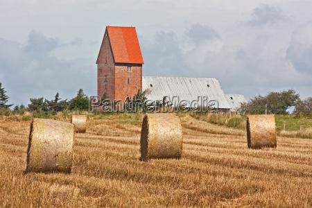 straw bales on grain field on