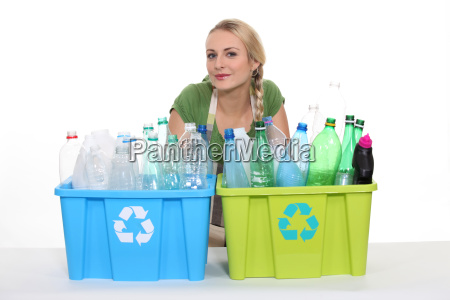 young woman with boxes for plastic