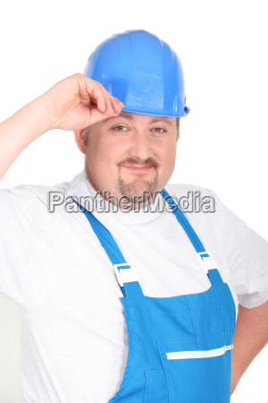 happy laborer on white background