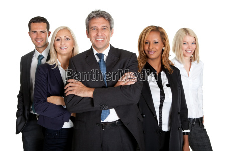 successful business colleagues on white background