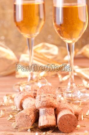 champagner und golddekoration