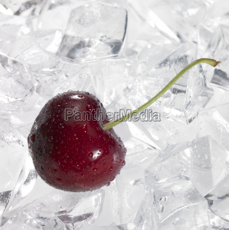 red cherry on ice
