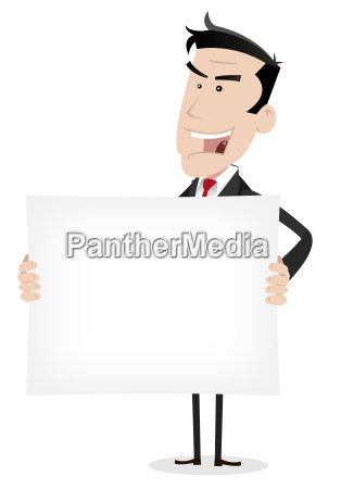white businessman holding advertising message