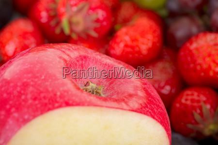 part of fresh apple on fruit