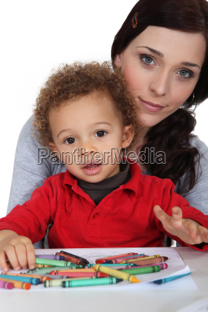 portrait of young mother with mixed