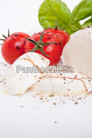 fresh tomato mozzarella with basil salad