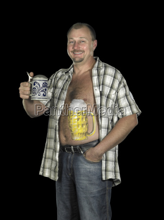 man with beer belly and stone