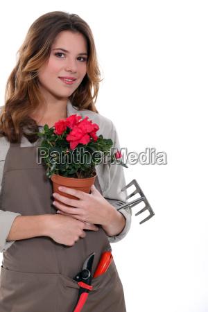 gardener carrying plant tool