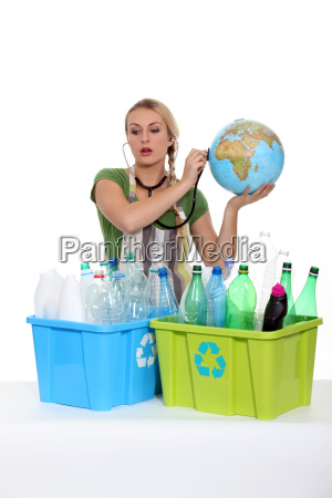portrait of a woman with plastic