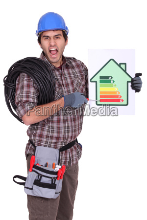 angry electrician showing the level of