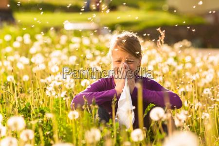 maedchen sitzt auf wiese mit pusteblumen