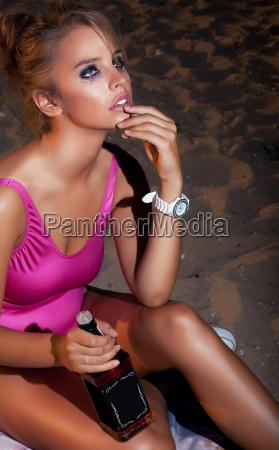 young beautiful fashion woman in depression