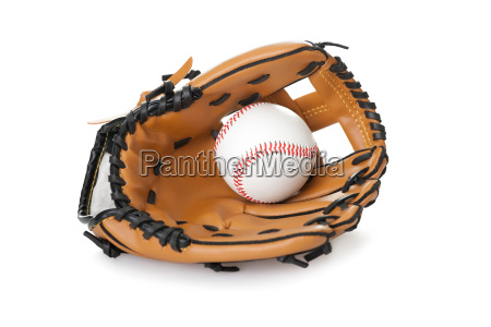 baseball glove with ball isolated on