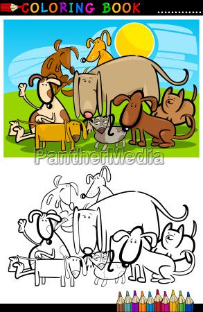 cartoon hunde malbuch oder seite