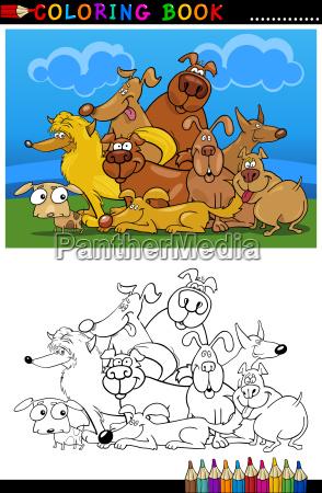 cartoon hunde fuer malbuch oder seite