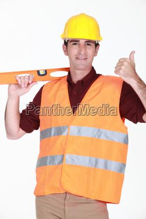 tradesman giving the thumbs up