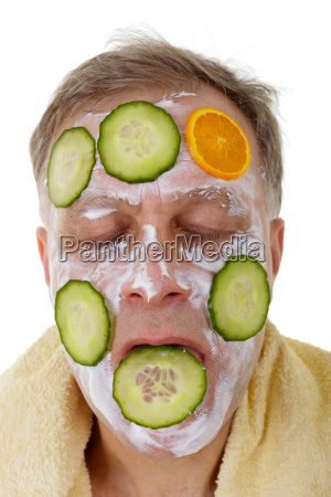 handsome man with fresh facial mask
