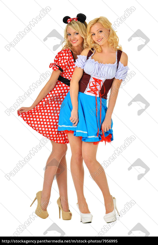 Zwei Schone Blonde Frauen Im Karneval Kostume Von Lizenzfreies