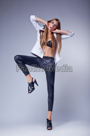 dancing fashion provocative bright girl in