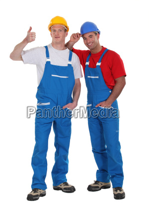 cheerful construction workers
