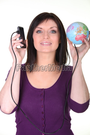 woman with her phone connected to