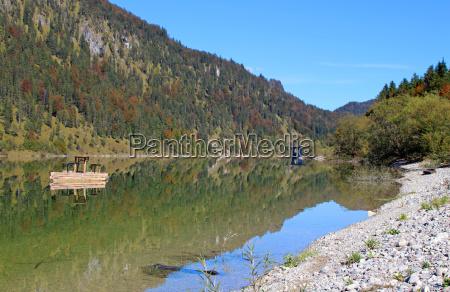 mountains bavaria mirroring woods artificial lake