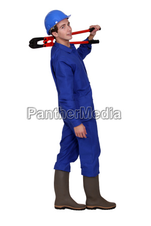 builder with boltcutters