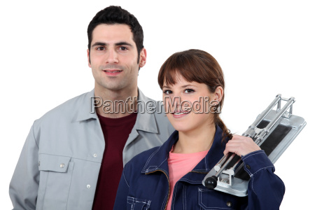 workers on white background