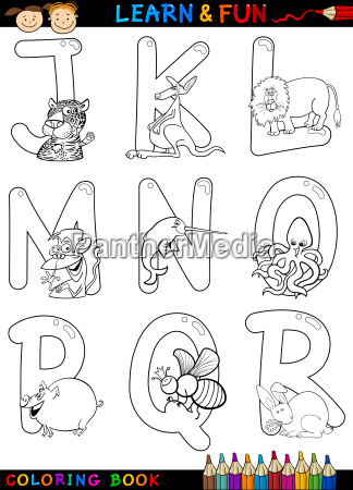 karikatur alphabet mit tieren zum faerben