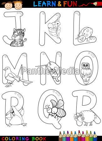 cartoon alphabet mit tieren zum malen