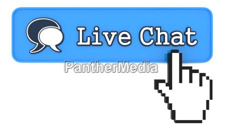 live chat button mit hand geformten