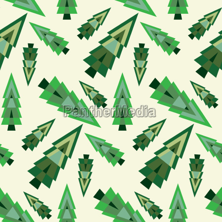 seamless background with geometrical pine trees