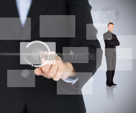 woman touching digital menu with man