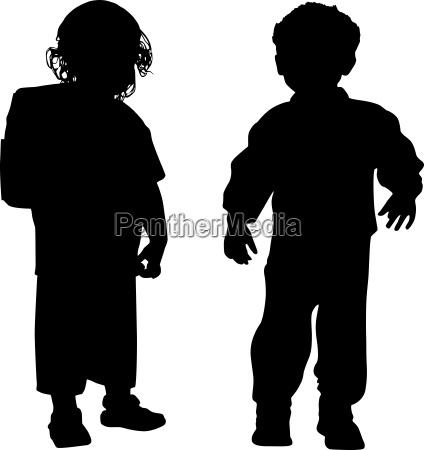 silhouetten von kindern